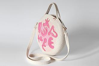 Kabelky - Provazová kabelka kulatá růžová - 13458129_