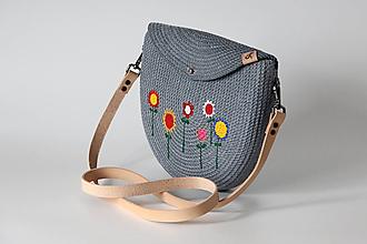 Kabelky - Provazová kabelka půlkulatá šedá - 13458182_
