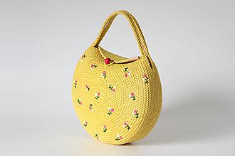 Kabelky - Provazová kabelka půlkulatá žlutá - 13458220_
