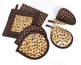 Úžitkový textil - Chňapky, ušká, podšálky - sada - 13459266_