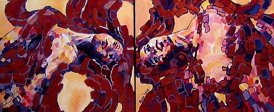 Obrazy - Obraz na stenu, maľba, originál (Diptych - Vášen príde v utorok a Dvojička utorkovej vášne) - 13460409_