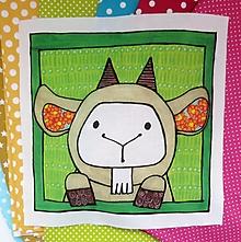 Textil - Bavlnený panel UŠI SI SÁM - Zvieratko z dvora (Kozička) - 13462812_