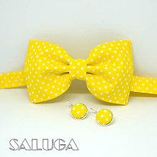 Doplnky - Pánsky žltý motýlik + náušnice - 13461934_