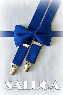Doplnky - Pánsky kráľovský modrý motýlik a traky - 13461955_