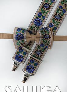 Doplnky - Folklórny pánsky hnedý motýlik a traky - folkový - ľudový - 13461980_