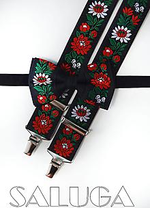 Doplnky - Folklórny pánsky čierny motýlik a traky folk - 13461999_