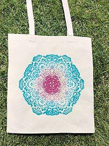 Iné tašky - Plátená taška/ tyrkysová ruža - 13462078_