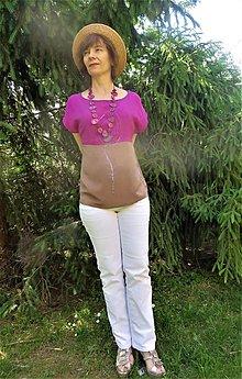 Topy - hodvábna blúzka  PÁVIE PERO - 13460751_