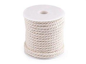 Galantéria - Bavlnená točená šnúra, Ø 5 mm, svetlá režná - 13464021_