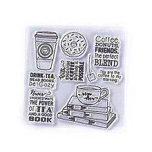 Pomôcky/Nástroje - Silikónové razítka, pečiatky - 10x10 cm - kniha, čaj, donut - 13464123_
