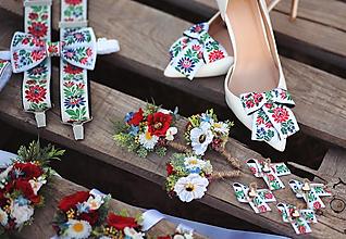 Obuv - Folk klipy na topánky biele - mašličky - 13463523_