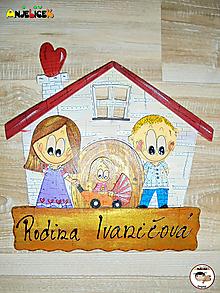 Tabuľky - Menovka - rodinka a domček - 13463126_