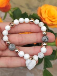 Náramky - Náramok z perlete, jaspisu, magnezitu - 13464586_