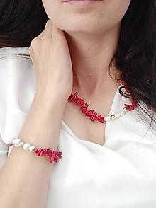 Sady šperkov - Set z korálu a perlete - 13464618_