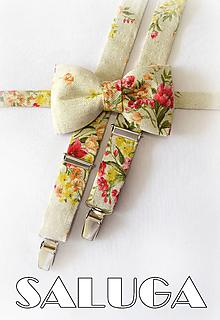 Doplnky - VINTAGE pánsky motýlik a traky - kvetinový - set - červený - 13464717_
