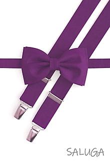 Doplnky - Pánsky vialový motýlik a traky - set - violet - 13464737_