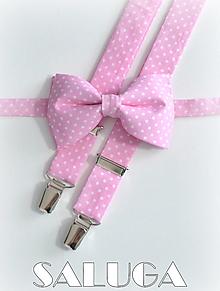 Doplnky - Pánsky svetlý ružový motýlik a traky bodkovaný - 13464763_