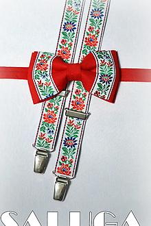 Doplnky - Folklórny pánsky červený motýlik a traky - folkový - ľudový - 13464771_