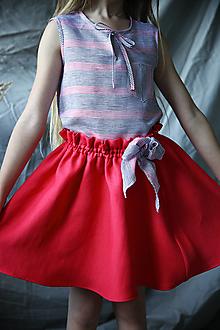 Detské oblečenie - Ružová ľanová suknička - 13464348_