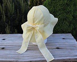 Detské čiapky - Detský letný klobúčik -svetlo žltý, bodkovaný - 13464834_