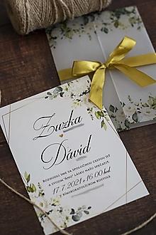Papiernictvo - Krémové kvety & geometria ❤ - svadobné oznámenie s transparentným obalom - 13463873_