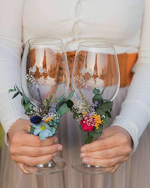 """Kvetinová ozdoba na svadobné poháre """"opojné letné večery"""""""