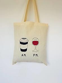 Nákupné tašky - •ručne maľovaná plátená taška - Káva & Víno• - 13463436_