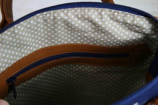 Kožená modrotlačová kabelka Nora hnedá