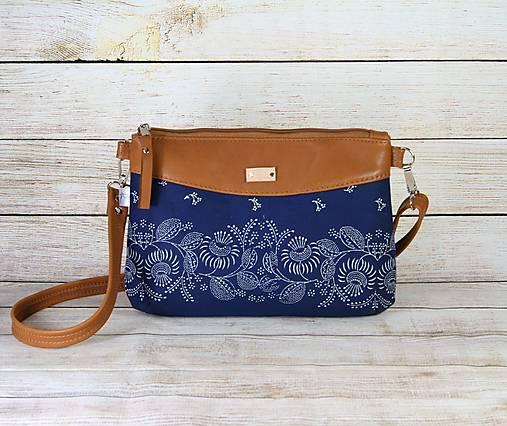 kožená modrotlačová kabelka Júlia hnedá