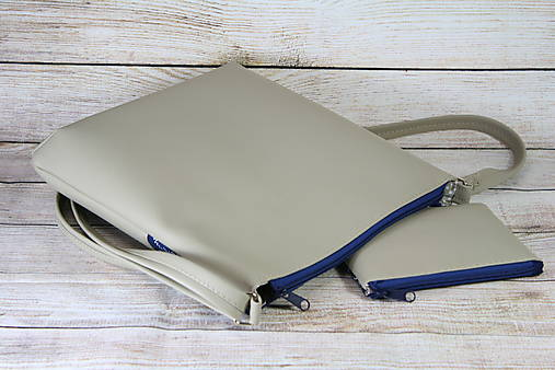 modrotlačová kabelka Dara béžová XL set 3