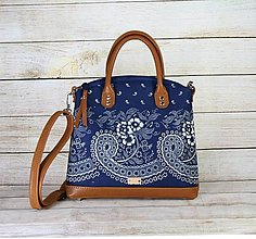 Kabelky - Kožená modrotlačová kabelka Nora hnedá - 13463776_