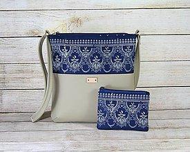 Kabelky - modrotlačová kabelka Dara béžová XL set 3 - 13463809_