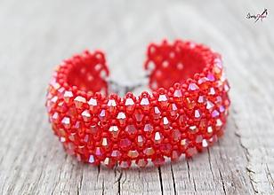 Náramky - náramok capricho z brúsených korálikov ♥ (apricho náramok červený AB) - 13465886_