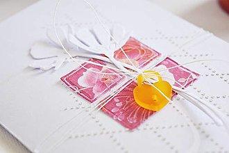 Papiernictvo - Svadobný pozdrav - biele kvety - 13467009_