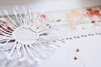 Papiernictvo - Svadobný pozdrav - veľký biely kvet - 13467022_