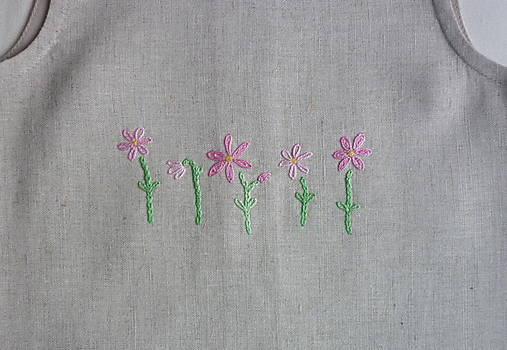 Šatočky ľan/bavlna, vyšité ružové kvietky