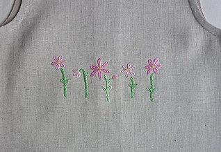 Detské oblečenie - Šatočky ľan/bavlna, vyšité ružové kvietky - 13467568_