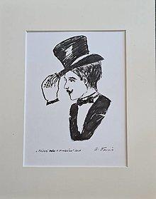 Kresby - Fúzatý pán v klobúku - 13466372_
