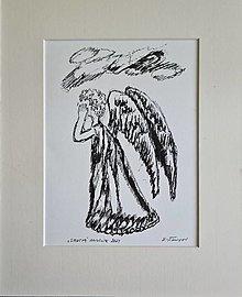 Obrazy - Smutný anjelik - 13467429_