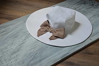 Čiapky - Ľanový klobúk natur biela & karamel mašla - 13468230_