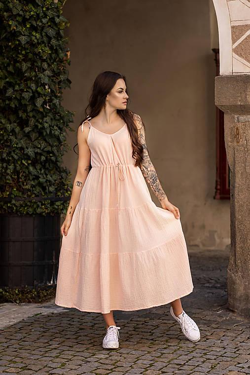 Šaty - Mušelínové šaty v marhuľovej farbe - 13466196_