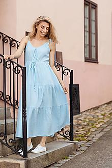 Šaty - Mušelínové šaty v nezábudkové farbe - 13466199_