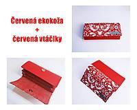 Peňaženky - Peňaženka červená ekokoža + červené folk vtáčiky - 13468686_