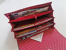 Peňaženky - Peňaženka červená ekokoža + červené folk vtáčiky - 13468687_