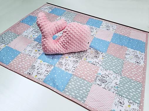 Ružovo-mentolová patchworková deka 120*90cm