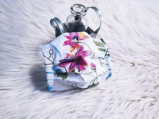 Rúško na tvár dámske exotické kvety harmonika