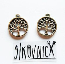 Komponenty - PR1 - kovový prívesok - strom života, 17x15 mm - 13469068_