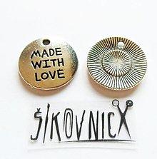 Komponenty - PR6 - kovový prívesok - made with love - 19 mm - 13469421_