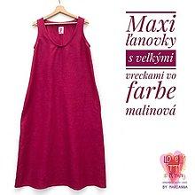 Šaty - Maxi ľanové šaty s veľkými vreckami - 13468803_