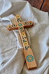 Kríž drevený - farebný kvet špirála II.